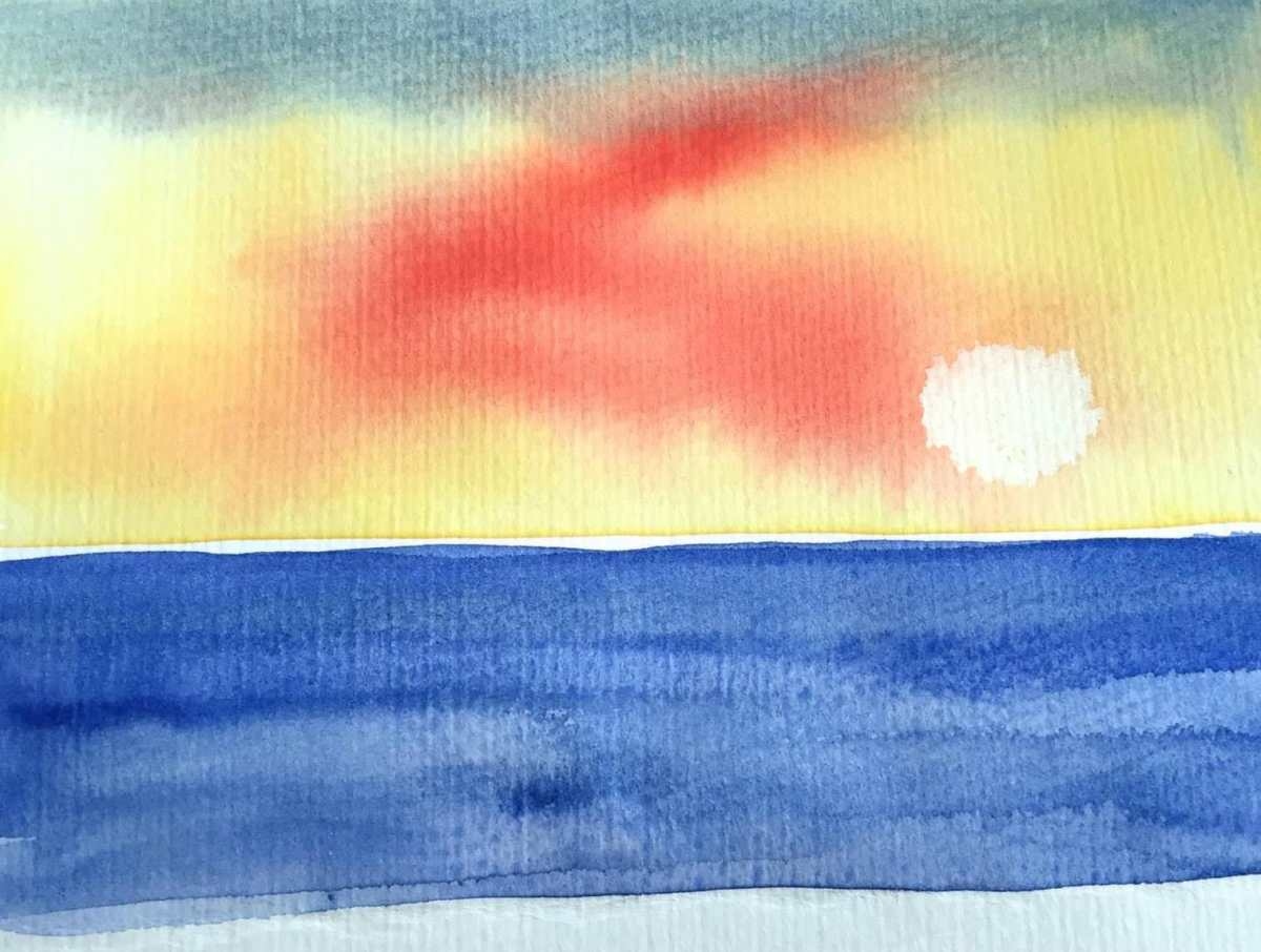 #Doodlewash - #Watercolor by Sarah Ongsun - sunset - #WorldWatercolorGroup