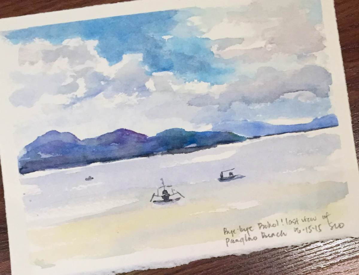 #Doodlewash - #Watercolor by Sarah Ongsun - beach - #WorldWatercolorGroup