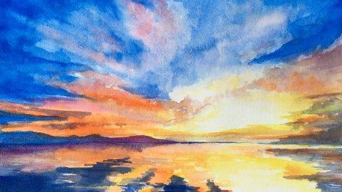 #Doodlewash - #Watercolor by Sarah Ongsun - sunset - #WorldWatercolorGroup