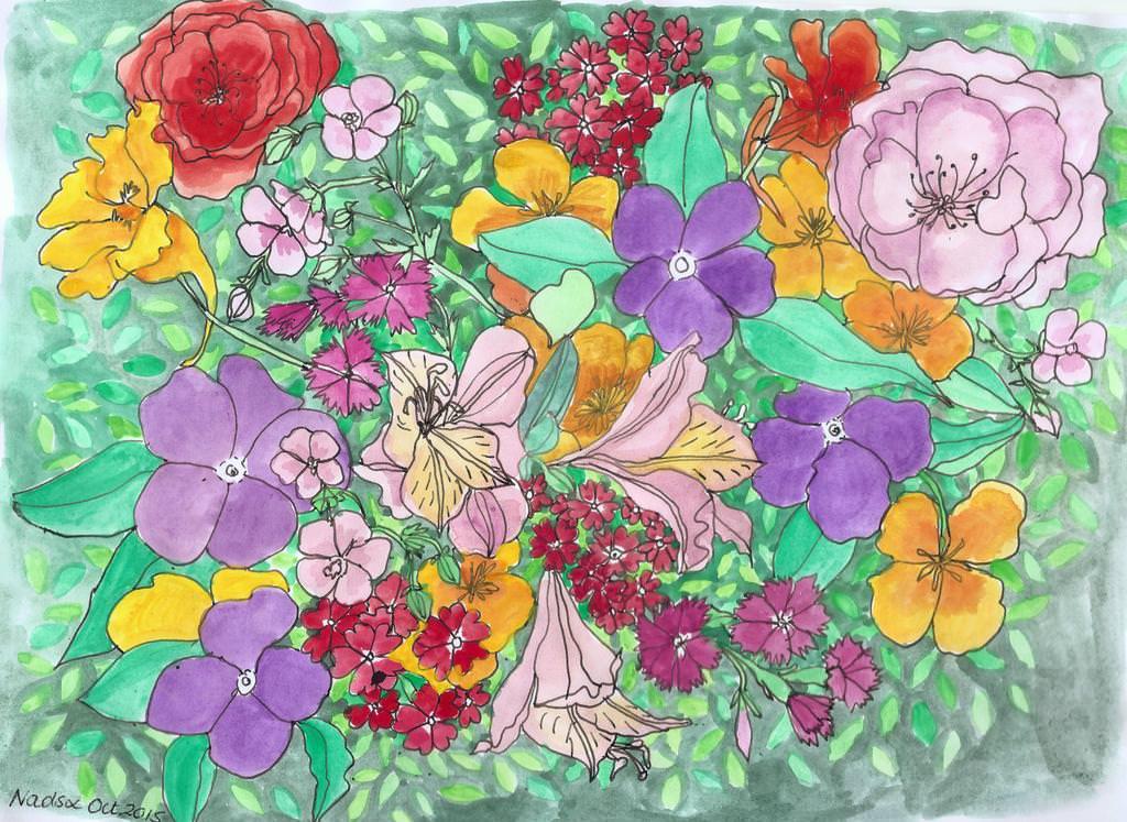 #Doodlewash - Watercolor by Nadene Esterhuizen of Alisa Burke Spring Bouquets #WorldWatercolorGroup