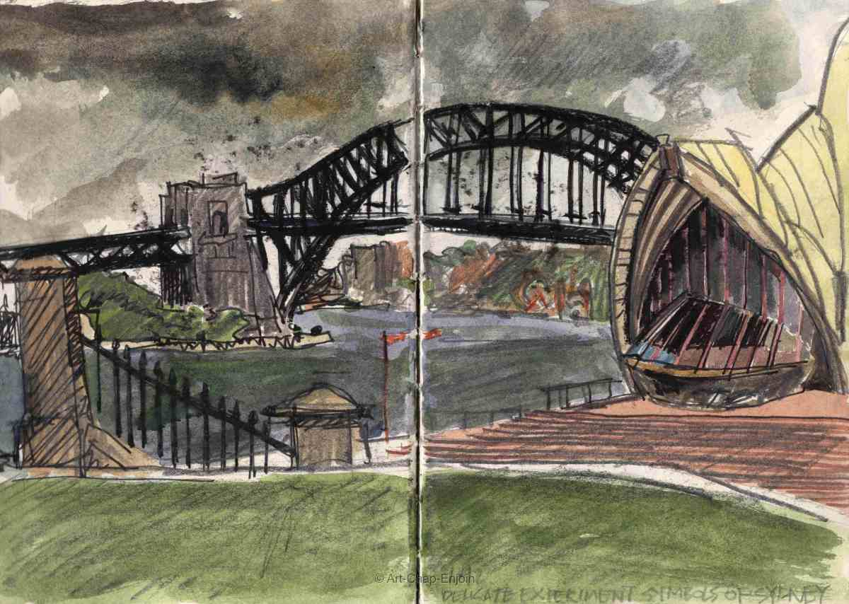 #Doodlewash - Watercolor sketch by Jonathan Price of Symbols of Sydney - #WorldWatercolorGroup