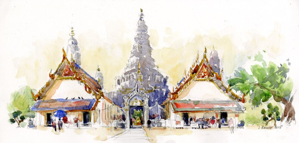 #Doodlewash - Stephanie Bower, #UrbanSketcher - watercolor sketch: Sketching at Wat Arun in Bangkok, Thailand #WorldWatercolorGroup