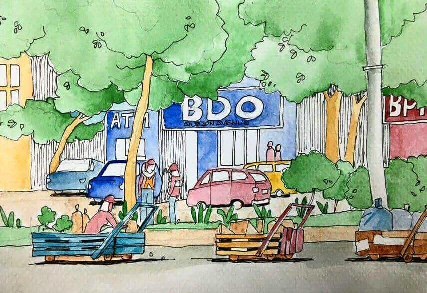 #Doodlewash - Watercolor Sketch by Abel Pabres - BDO Quezon Avenue - #WorldWatercolorGroup