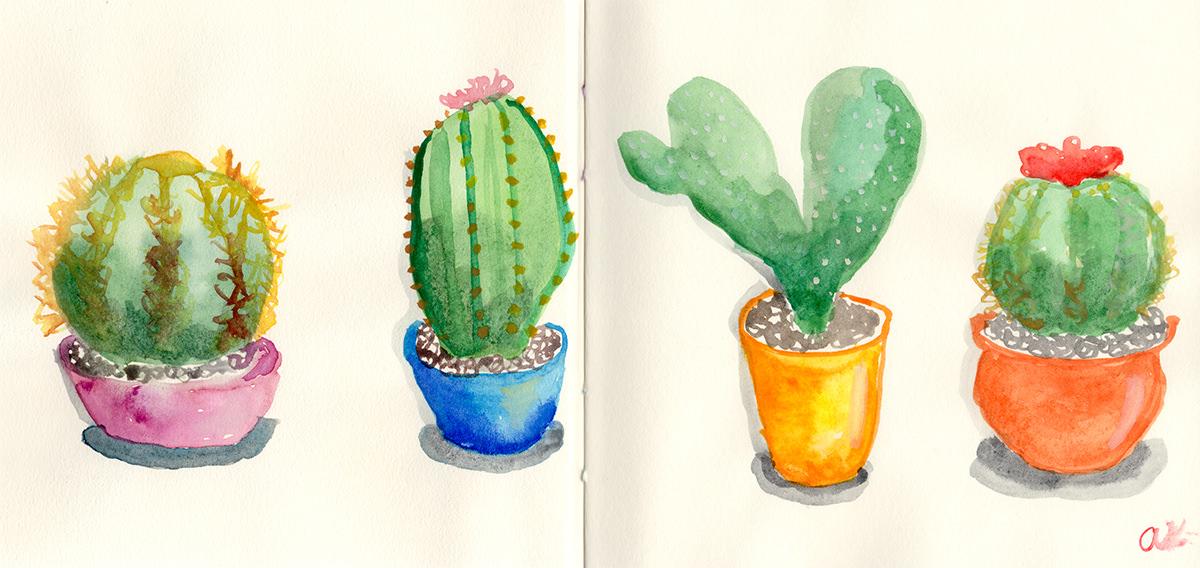 #Doodlewash - Watercolor by Anya Kopotilova - cacti - #WorldWatercolorGroup