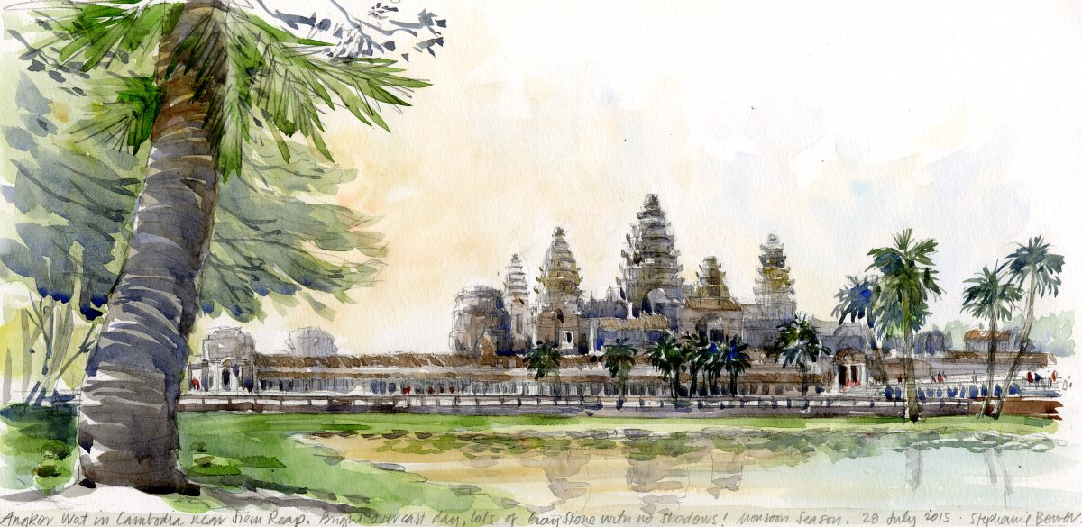#Doodlewash - Stephanie Bower, #UrbanSketcher - watercolor sketch: Sketch of Angkor Wat, Cambodia #WorldWatercolorGroup