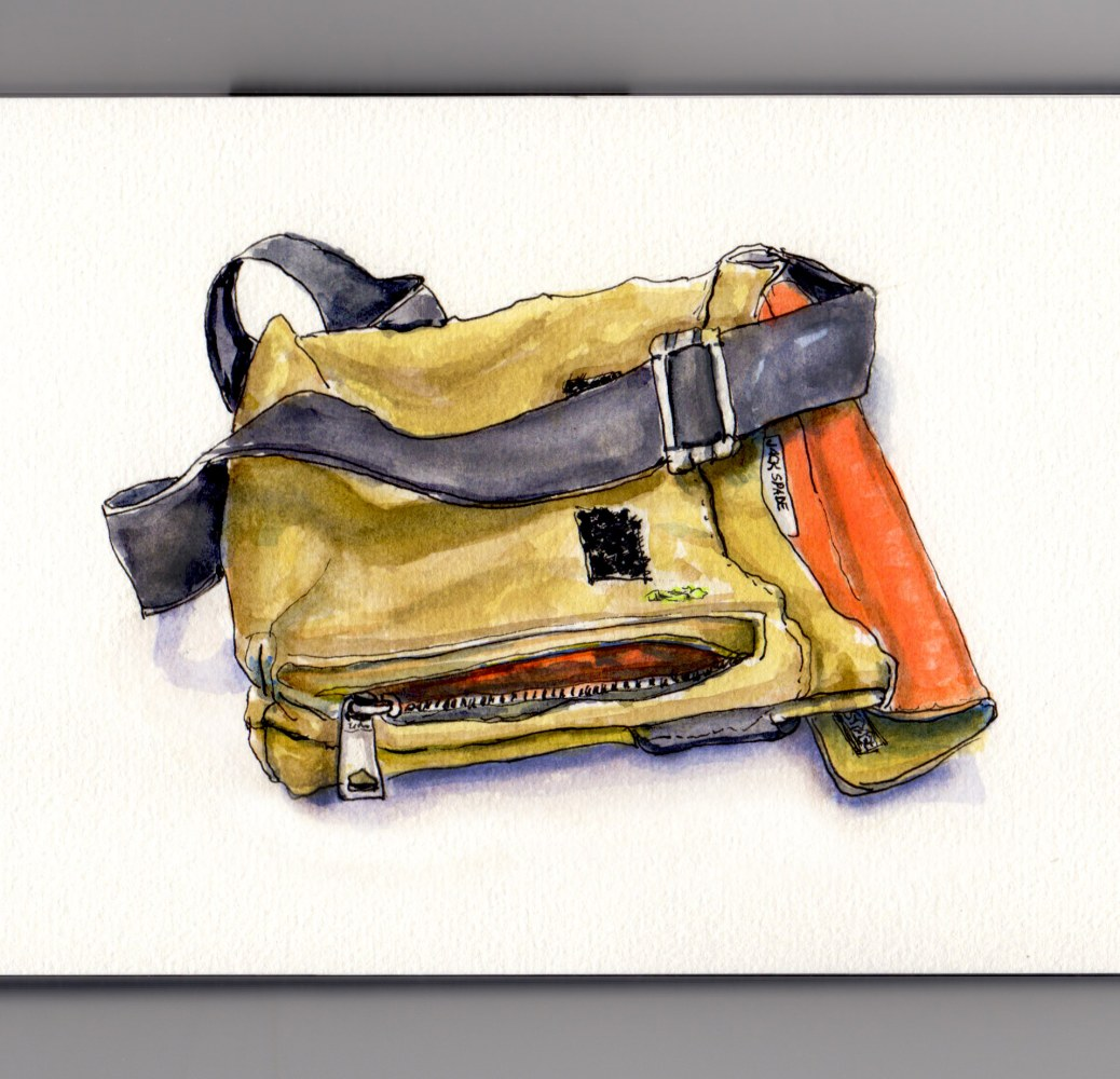 Day 1 #WorldWatercolorGroup Jack Spade Greene St. Small Messenger Olive Green Orange