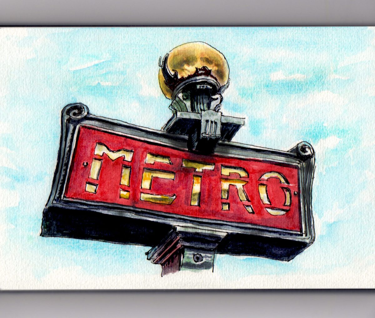 Day 11 #WorldWatercolorGroup Paris Metro Sign