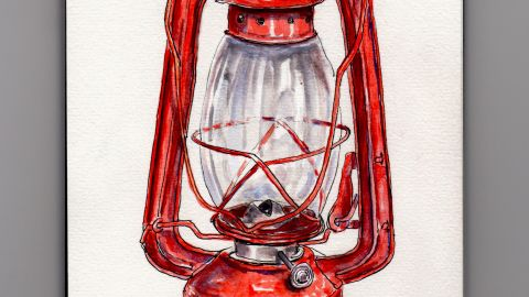 Day 15 #WorldWatercolorGroup Camping Through An Ice Storm Red Kerosene Lantern