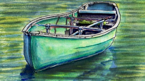 Day 18 #WorldWatercolorGroup Canoe on a lake green water