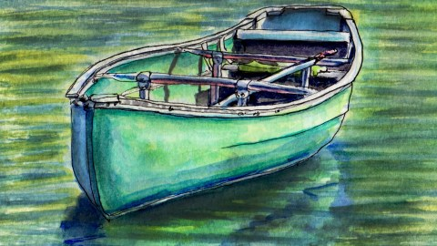 Day 18 #WorldWatercolorGroup Canoe on a lake green water