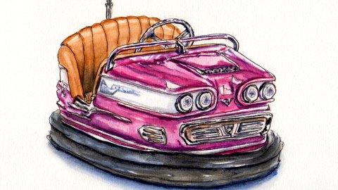 Day 20 #WorldWatercolorGroup Riding in Bumper Cars Retro European
