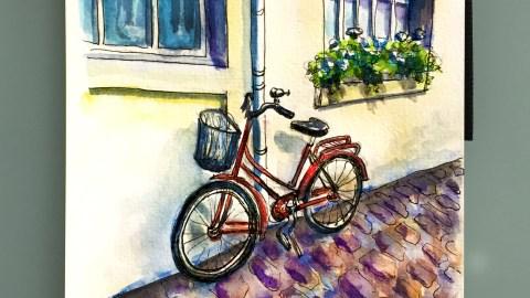 Day 28 #WorldWatercolorGroup La Vue De Notre Appartement Bicycle in Paris France