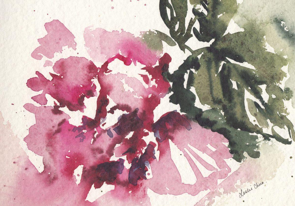 #Doodlewash - Watercolor sketch by Leslie Chua - hibiscus - #WorldWatercolorGroup