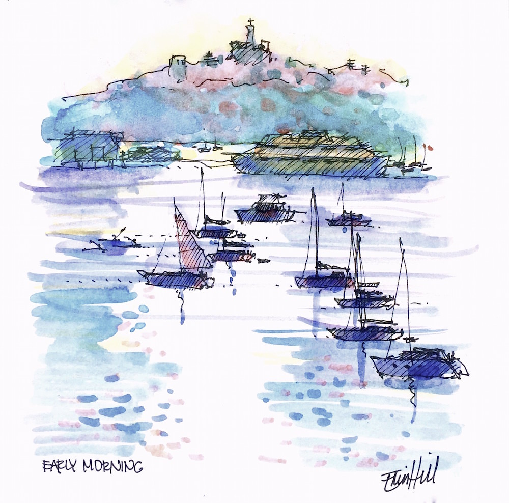 #Doodlewash - Watercolor Sketch By Erin Hill - early morning manly sydney - #WorldWatercolorGroup