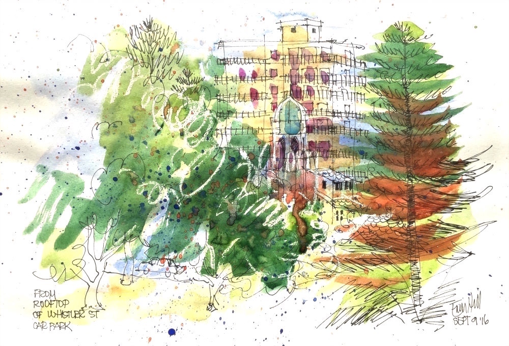 #Doodlewash - Watercolor Sketch By Erin Hill - from rooftop of whistler street carpark- #WorldWatercolorGroup