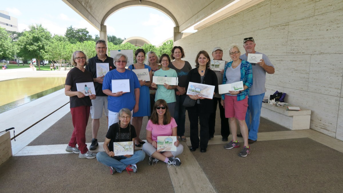 Stephanie Bower - #UrbanSketchers At the Kimbell Art Museum in Fort Worth with Texas Urban Sketchers