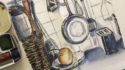 #Doodlewash - Watercolor sketch by Leslie Chua - kitchen tools - #WorldWatercolorGroup