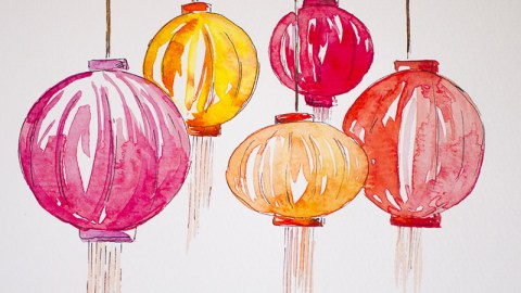 #Doodlewash - Watercolor by Sharmini Markandu - lanterns - #WorldWatercolorGroup
