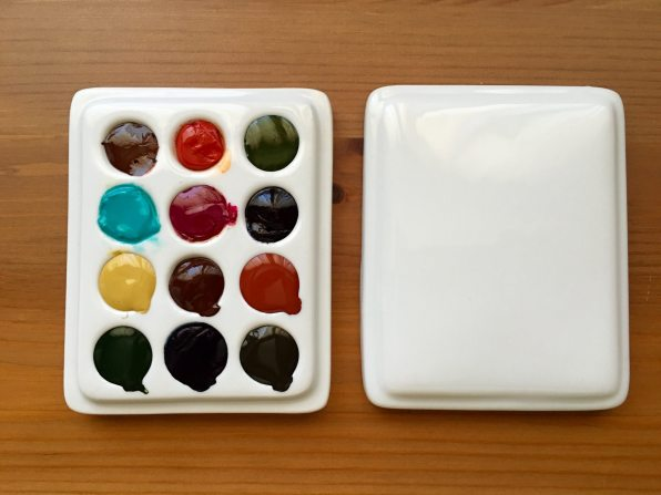 Qor high chroma and earth set of 6 watercolors in a 12 well jack richeson porcelain palette