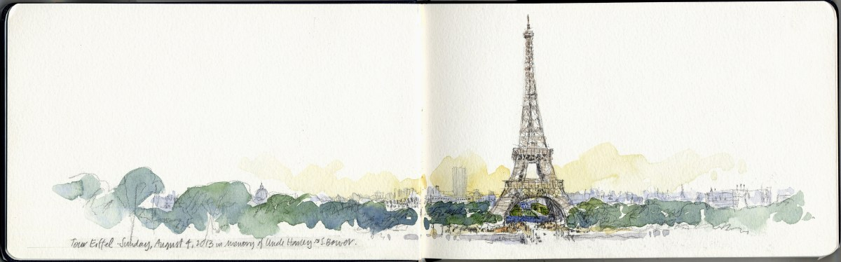 #Doodlewash - Stephanie Bower, #UrbanSketcher - watercolor sketch: Eiffel Tower Gabriel Prize in Paris #WorldWatercolorGroup