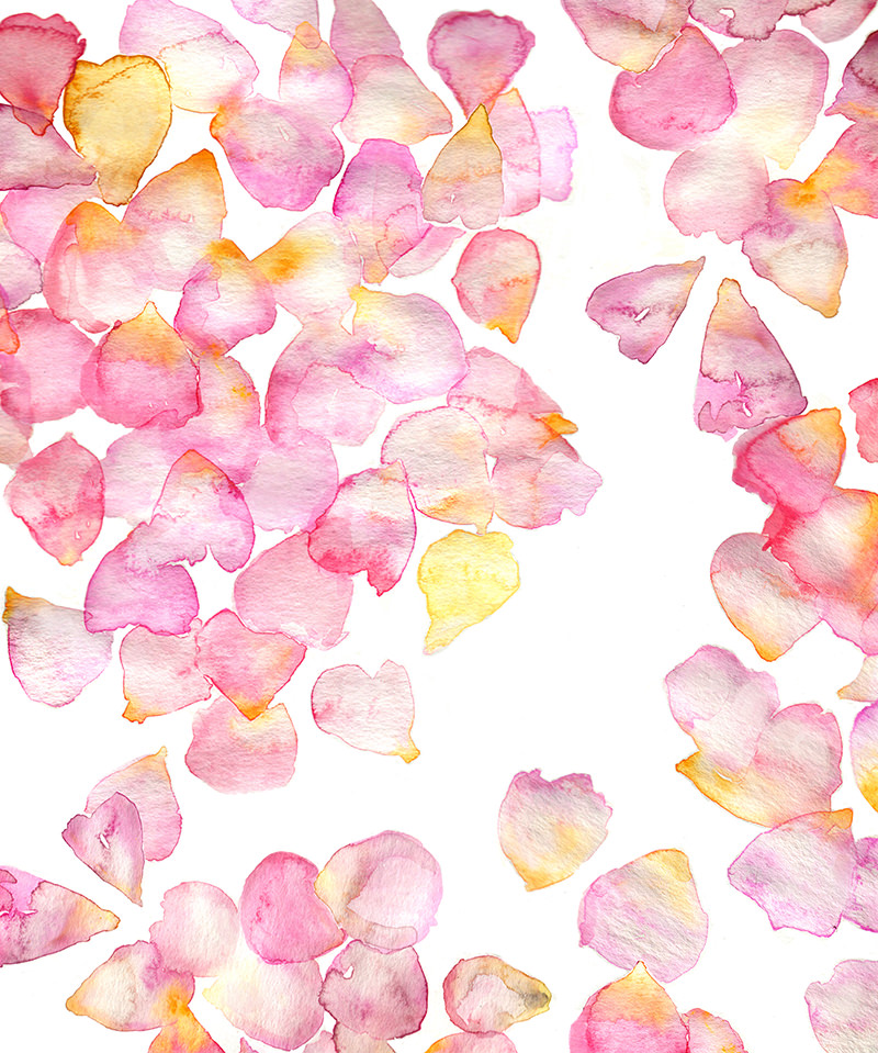 #Doodlewash - Watercolor by Jenna Lechner Blue Sea Pink Petals Pattern #WorldWatercolorGroup