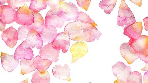 #Doodlewash - Watercolor by Jenna Lechner Blue Sea Pink Petals Pattern #WorldWatercolorGroup