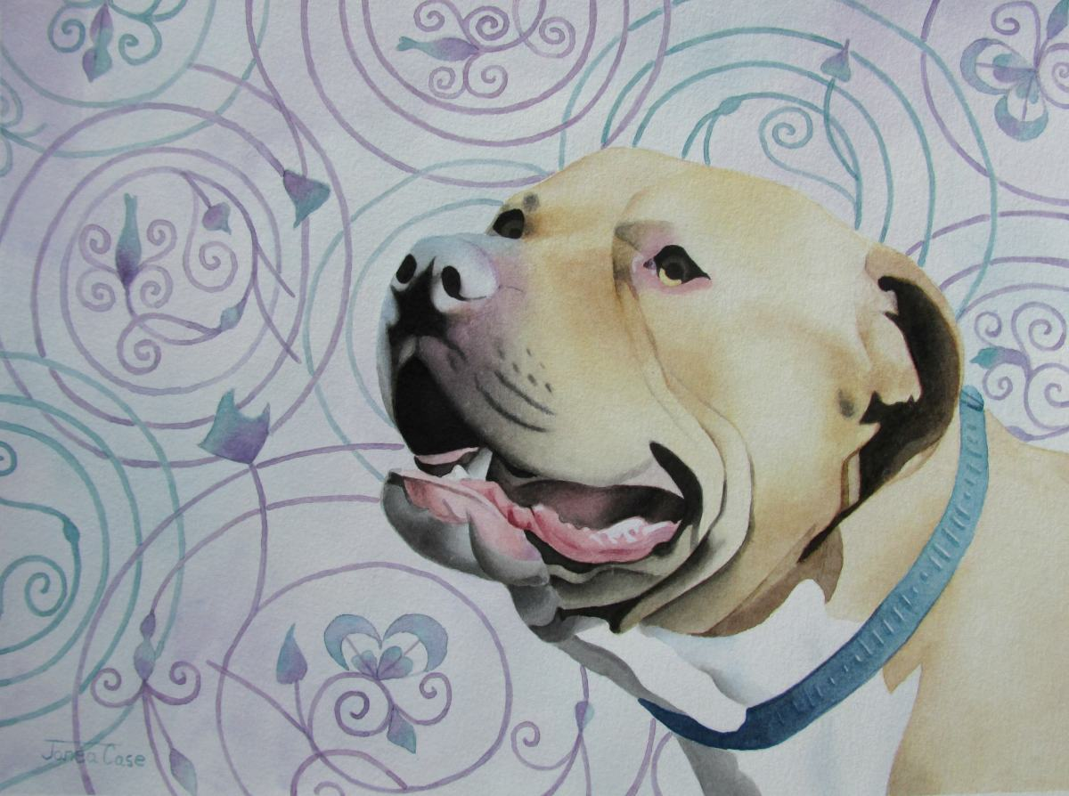 #Doodlewash - Watercolor by Janea Case of pitbull painting - #WorldWatercolorGroup