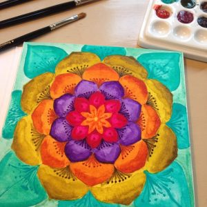 Qor high chroma set of 6 watercolors mandala painting by Jessica seacrest