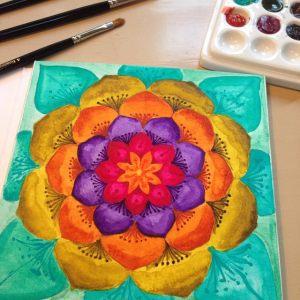 Qor high chroma set of 6 watercolors mandala painting by Jessica seacrest