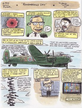 #Doodlewash - Watercolor comic by Damian Willcox, dorkboy comics - remembrance day - #WorldWatercolorGroup