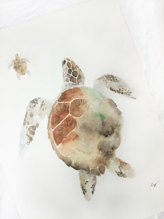 #Doodlewash - Watercolor by Cathy Zhang of sea turtles - #WorldWatercolorGroup
