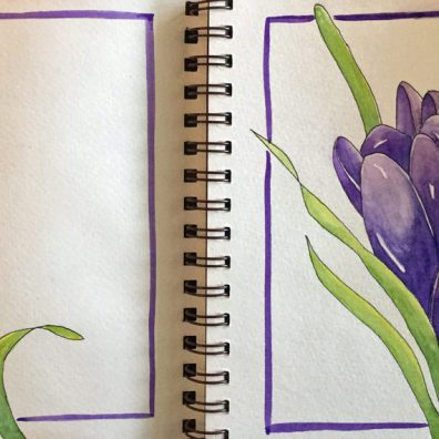 #Doodlewash - Watercolor by Annie Glacken - Strathmore sketchbook purple flowers - #WorldWatercolorGroup
