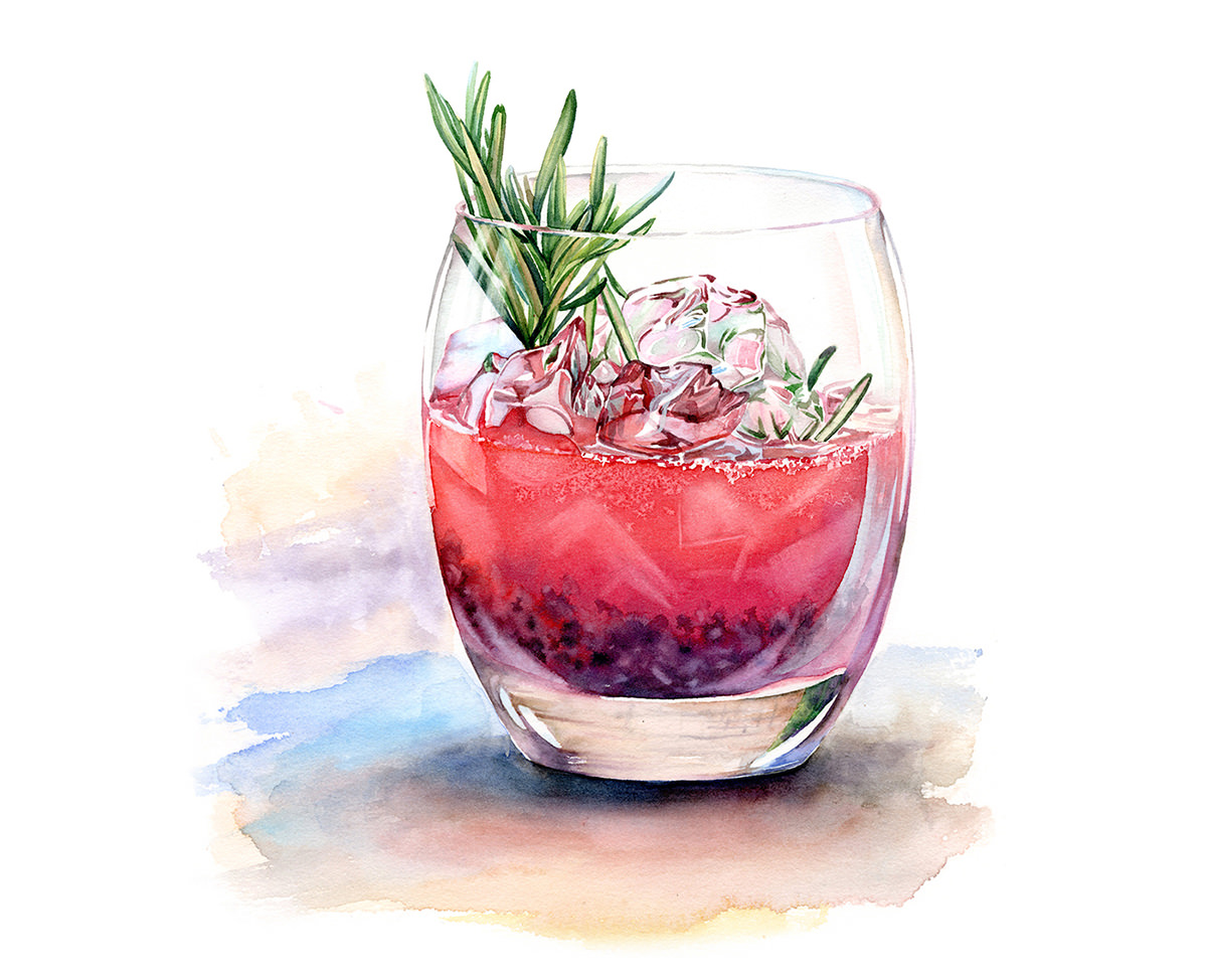 #WorldWatercolorGroup - Watercolor by Kateryna Savchenko of drink with ice rosemary - #doodlewash