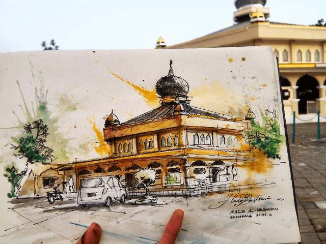 #WorldWatercolorGroup - Watercolor sketch by Noor Huda Bastomi of al mujahideen mosque #urbansketchers #usk - #Doodlewash