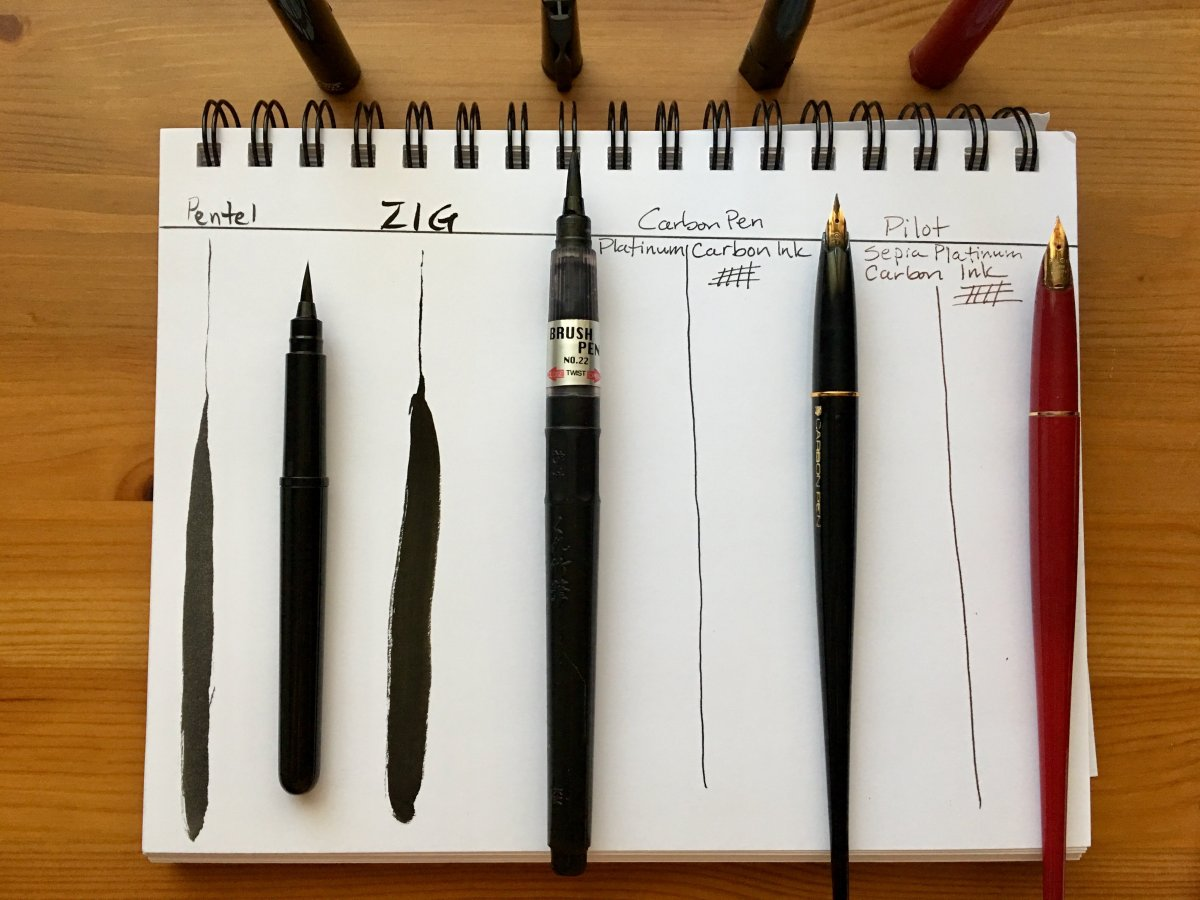 pentel brush pen, Zig Cartoonist Brush Pen No. 22, Platinum Carbon Desk Fountain Pen, Pilot Desk Pen, line example