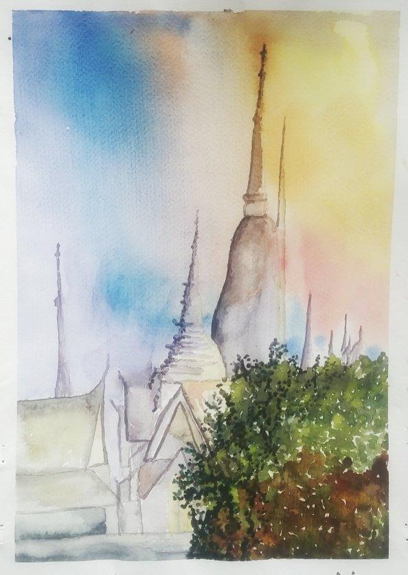 #WorldWatercolorGroup Watercolor painting by Daniel Trump of buildings - #doodlewash