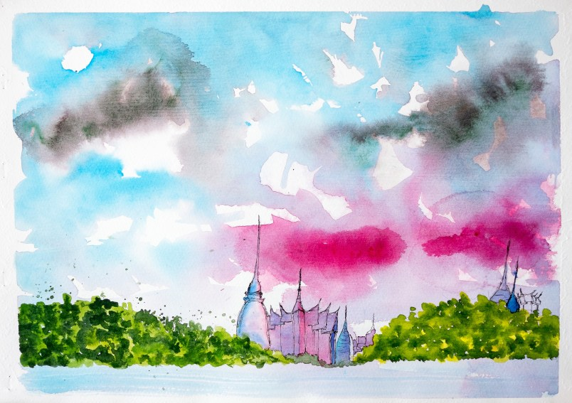 #WorldWatercolorGroup Watercolor painting by Daniel Trump of pink sky - #doodlewash