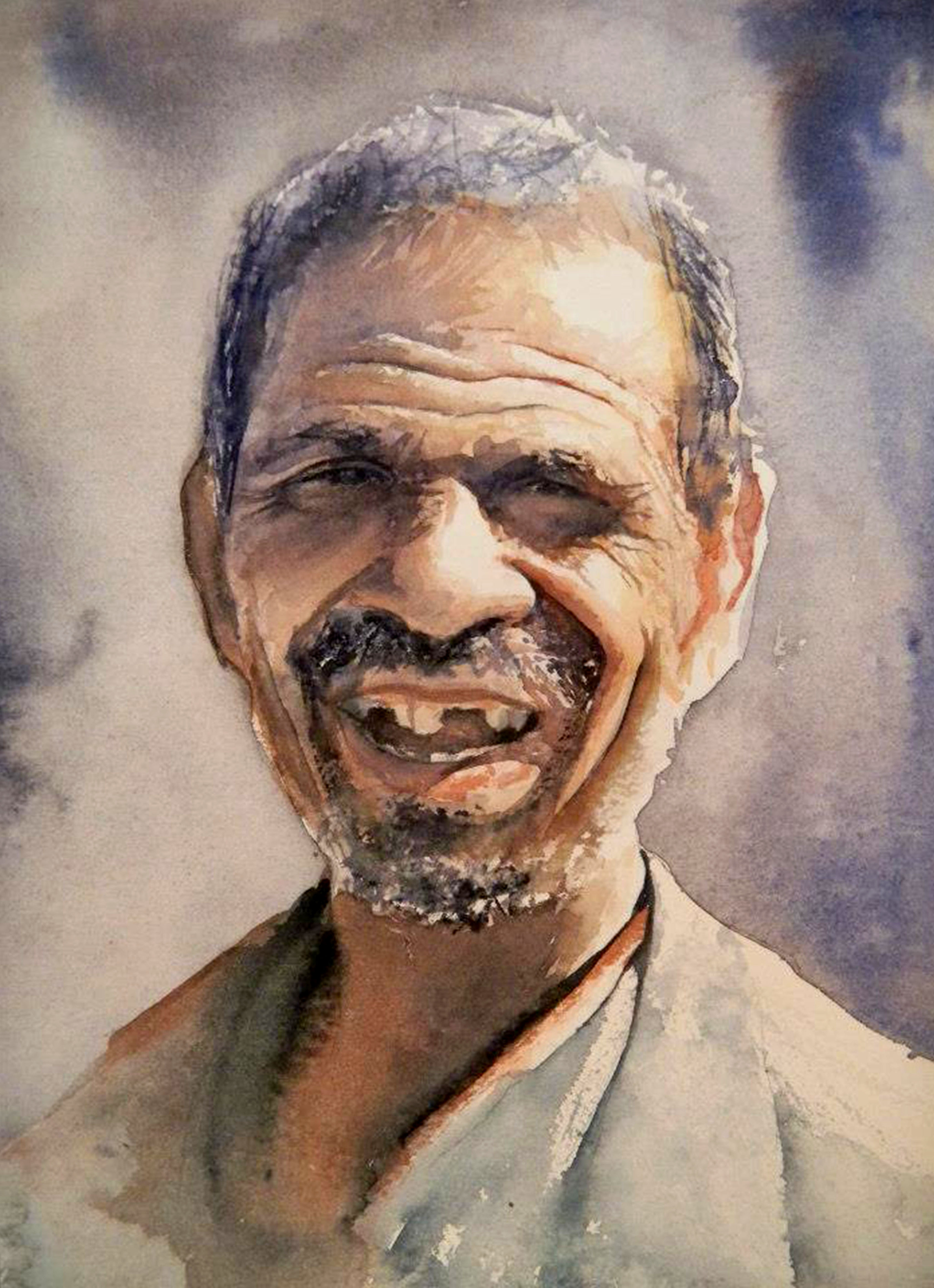 #WorldWatercolorGroup - watercolor by Dalibor Popovic Miksa of male portrait - #doodlewash