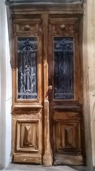 #WorldWatercolorGroup - watercolor by Dalibor Popovic Miksa of wooden door - #doodlewash