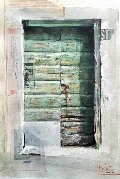#WorldWatercolorGroup - watercolor by Dalibor Popovic Miksa of green door - #doodlewash
