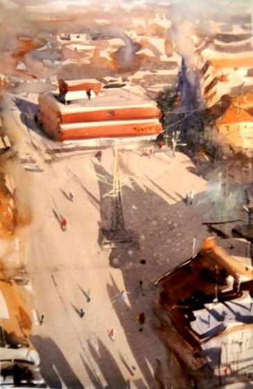 #WorldWatercolorGroup - watercolor by Dalibor Popovic Miksa of aerial view - #doodlewash
