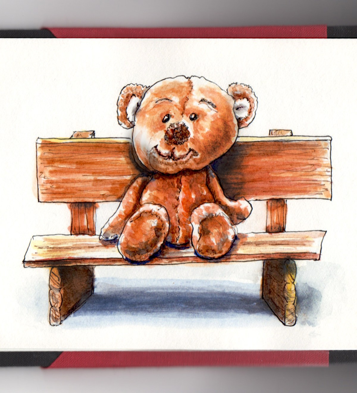 Day 12 - #WorldWatercolorGroup Bring Your Teddy Bear To Work or School Day