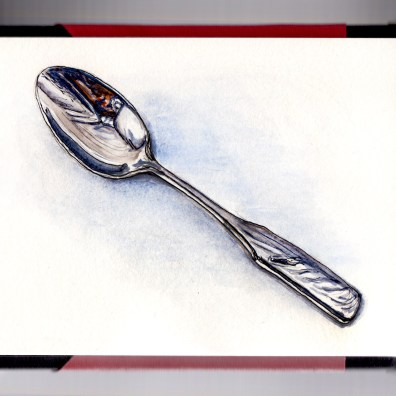 Day 16 - #WorldWatercolorGroup Comfort Food Silver Soup Spoon