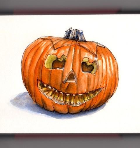 Day 31 - #WorldWatercolorGroup Carving A Halloween Pumpkin