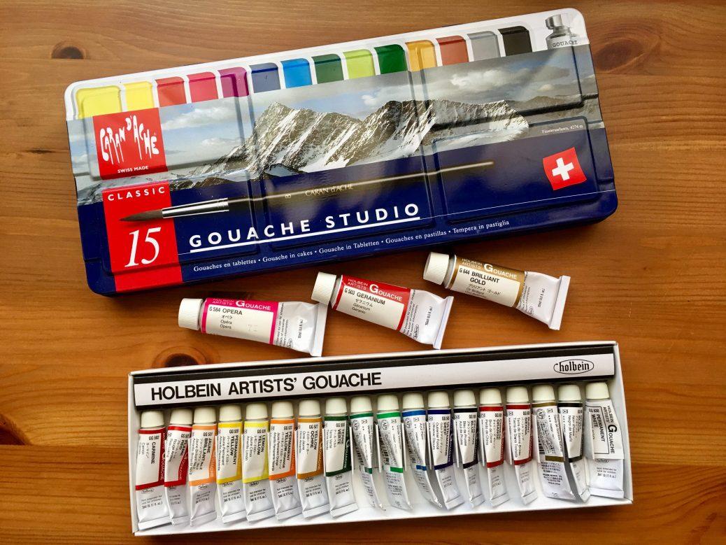 Caran d'Ache gouache studio 15 pan palette and Holbein artists gouache set of 18 tubes