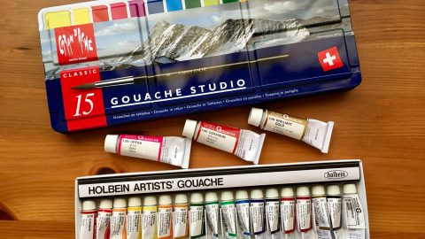 Caran d'Ache gouache studio 15 pan palette and Holbein artists gouache set of 18 tubes