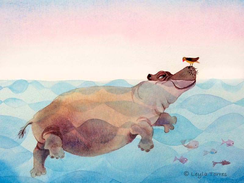 #Doodlewash - Watercolor Illustration by Leyla Torres of hippo and bird - #WorldWatercolorGroup