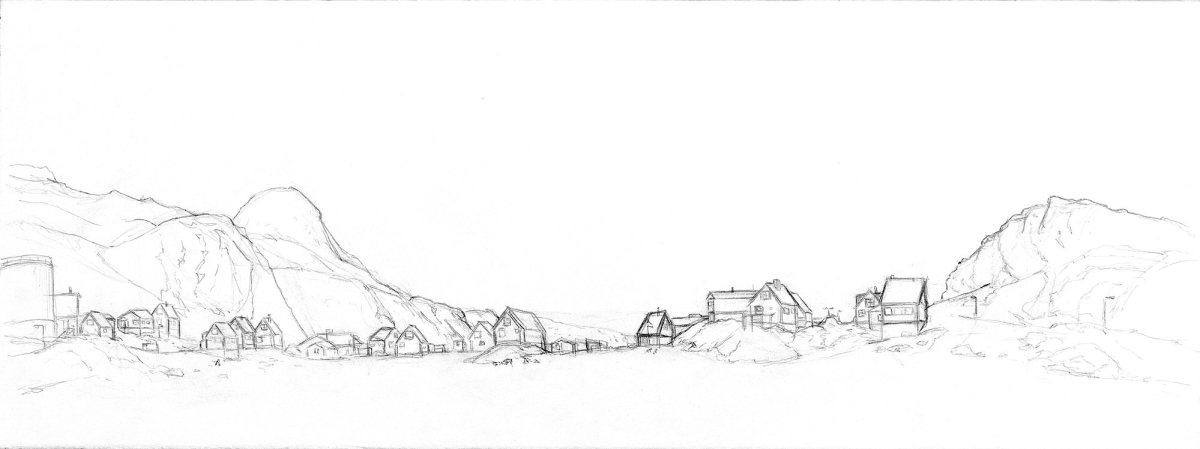 #WorldWatercolorGroup - Watercolor Sketch by Maria Coryell-Martin of niaqornat pencil sketch - #doodlewash