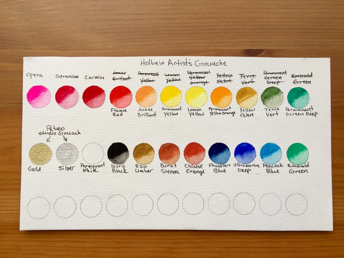holbein artists gouache set of 18 5ml tubes in a mijello mission palette, swatch card.