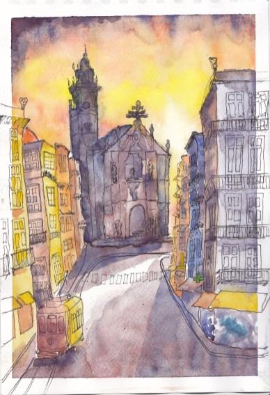 #WorldWatercolorGroup Watercolor painting by Daniel Trump of city street - #doodlewash